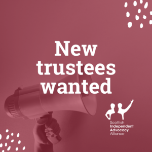 Muted red background with a megaphone, white decorations and SIAA logo. Text reads: 'New trustees wanted'.